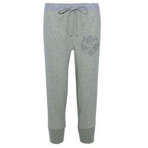 3.1 Phillip Lim Pants - 3.1 Phillip Lim Embroidered Cropped Joggers